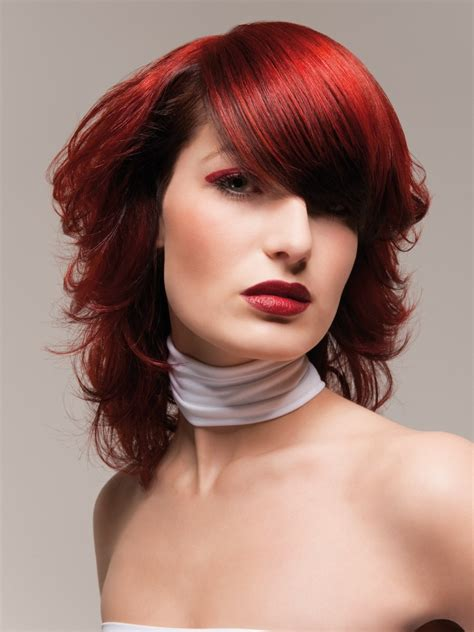 ultramodern hairstyle  fire red hair