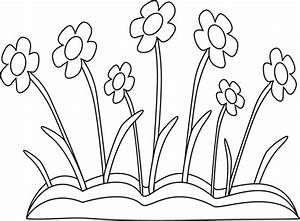 Black and White Spring Flower Patch Clip Art