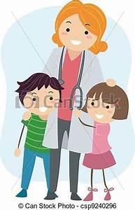 Clip Art Vector of Pediatrician - Illustration of Children ...