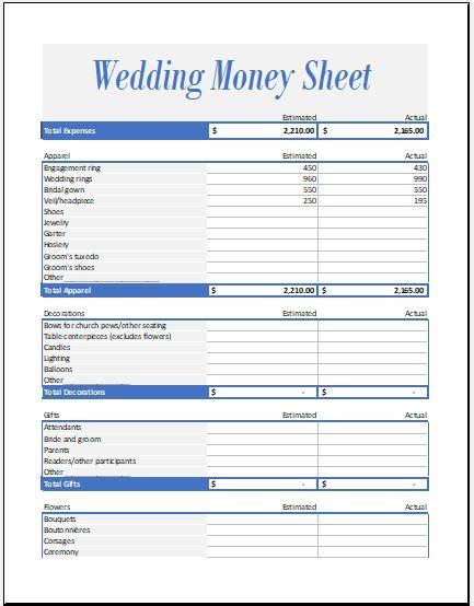 wedding event expense calculator worksheet excel templates