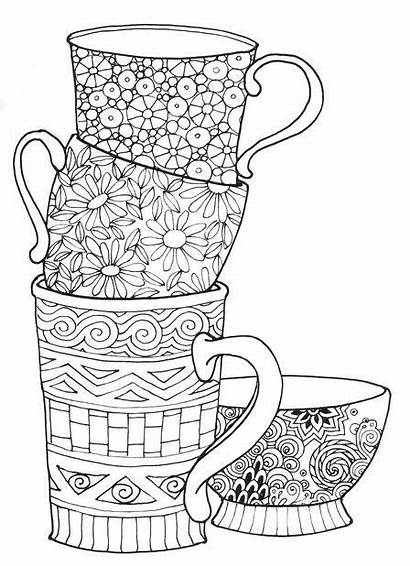 Coloring Coffee Tea Cups Pages Adult Books