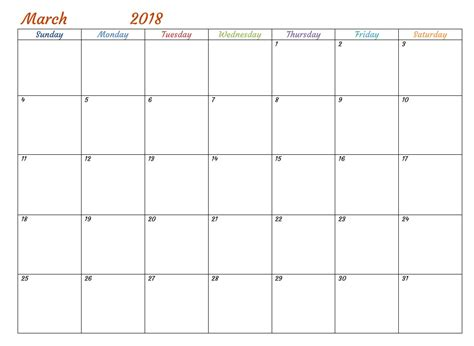 calendar 2018 template word printable march 2018 calendar word document template printable templates letter calendar word