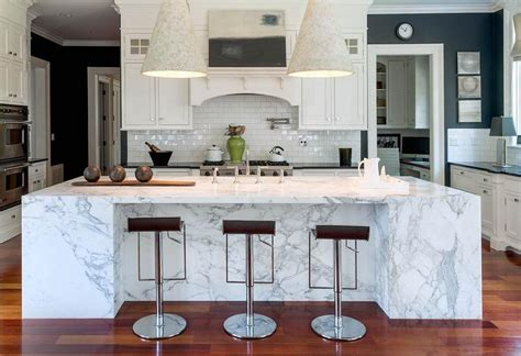 Marble Slab Kitchen Island  Transitional  Kitchen