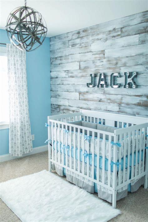 The best boy nursery ideas to create a stunning room including the best wall decor, bedding, unique themes you will love plus, how to create one of a kind accent wall. Beautiful nursery. Barnwood wall #babyboyrooms | Baby boy room nursery, Baby boy room decor ...