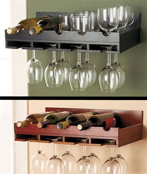wooden wine rack  stock wall mount hanging glass holder