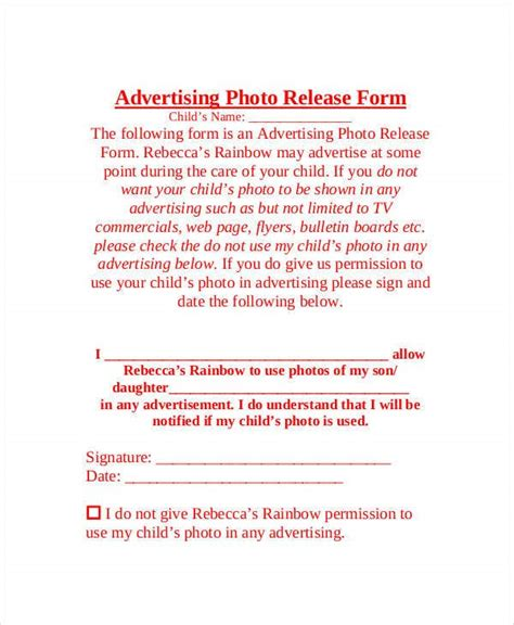 Photo Release Form Template - 9+ Free PDF Documents ...