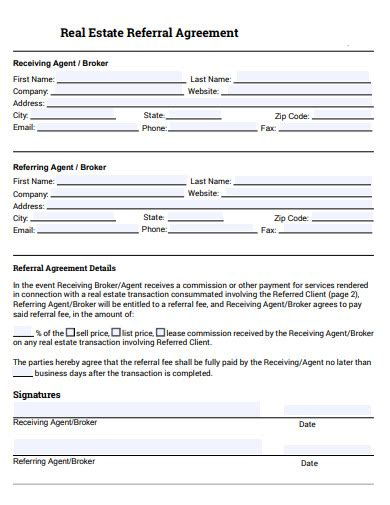 real estate referral agreement templates