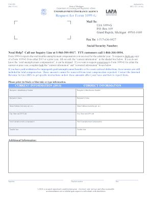 michigan form 1099 g fillable online mi request for form 1099 g mail to uia