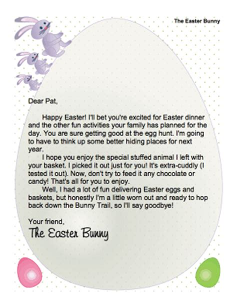 Letter To Easter Bunny Template by Printable Easter Bunny Letter Enjoy Stuffed Animal