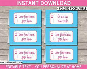 Bowling theme food labels place cards bowling birthday for Food label template for party