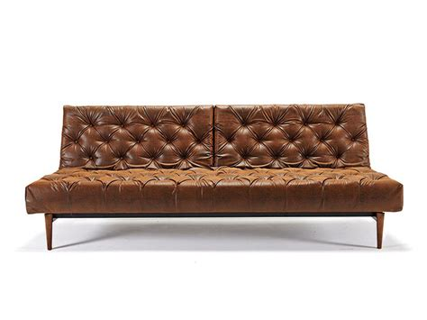 Traditional Style Tufted Sofa Bed In Vintage Black Brown