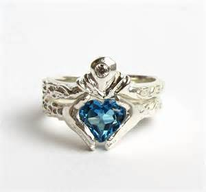 sterling claddagh wedding and engagement ring set - Claddagh Wedding Ring Set