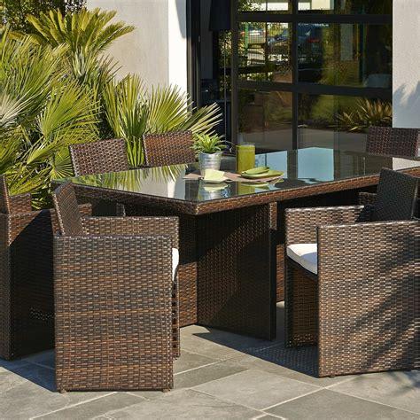 salon de jardin encastrable r 233 sine tress 233 e marron 1 table 8 fauteuils leroy merlin