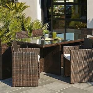 Salon De Jardin Encastrable Rsine Tresse Marron 1 Table
