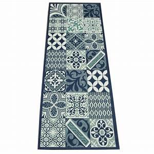 Tapis Cuisine Carreaux De Ciment : tapis de cuisine long carreaux de ciment bleu star 80x200cm ~ Dailycaller-alerts.com Idées de Décoration