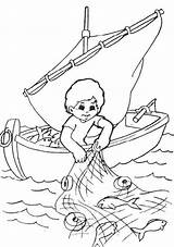 Fisherman Coloring Fishing Fish Catching Pages Nets Drawing Drawings Kid Colouring Bible Printable Sheet Clip Boat Sketch Children Coloringsky Sunday sketch template