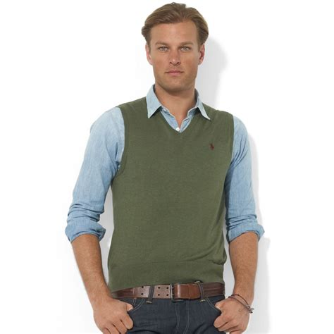 mens sweater vest lyst ralph v neck merino wool sweater vest in