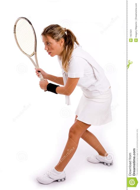 Side View Of Young Player Ready To Play Tennis Stock Image
