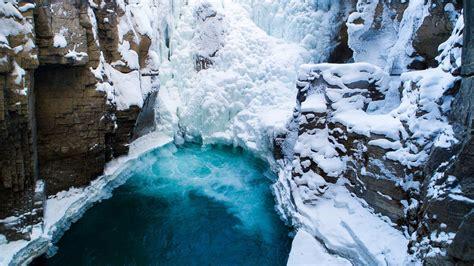 frozen waterfall jasper bing wallpaper