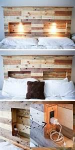 Lit En Palette Avec Rangement : t te de lit en palette 31 nouvelles id es pour votre chambre wooden pallet furniture wood ~ Melissatoandfro.com Idées de Décoration