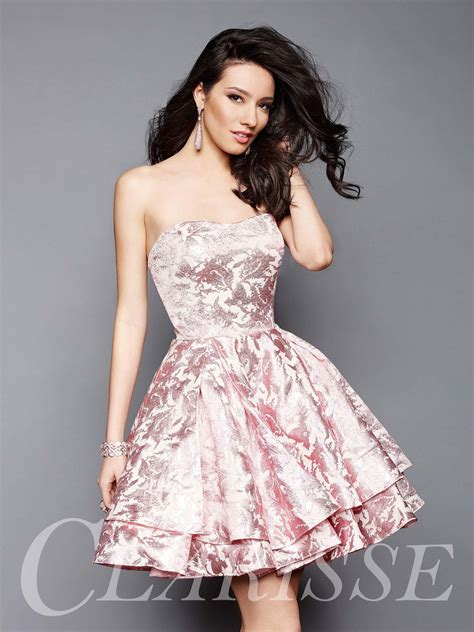 Strapless Metallic Homecoming Dress with Tiered Skirt ...
