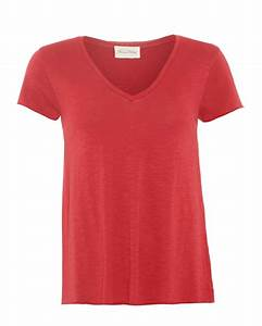 American Vintage Womens Jacksonville T-Shirt V-Neck Red ...