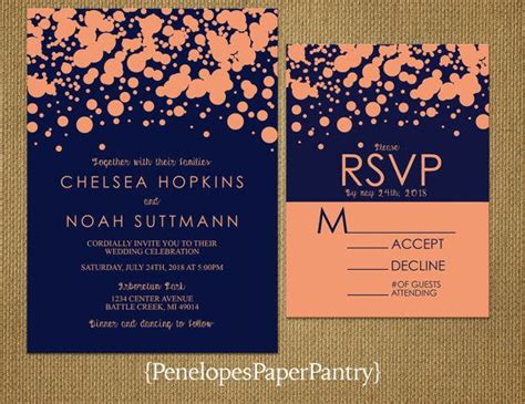 Navy and Peach Wedding InvitationsPeach by