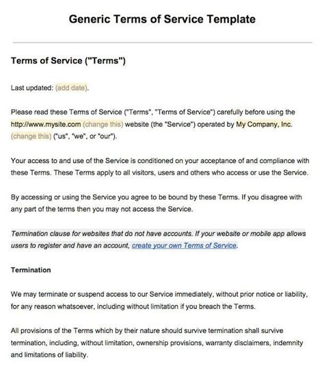 sample terms  service template termsfeed