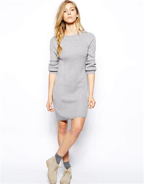 gray sweater dress le mont st michel sleeve sweater dress in gray lyst