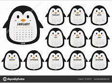 Calendario Lindo Pingüino 2018 Para Imprimir Calendario