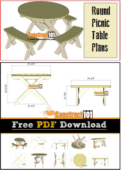 picnic table plans   construct