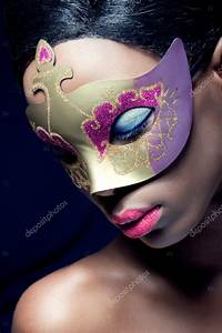 Beauty Portrait Of A Young Black Woman Wearing Mask