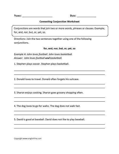 worksheets conjunction worksheets 4th grade waytoohuman