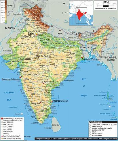 Map India Physical Cities Maps Asia Airports