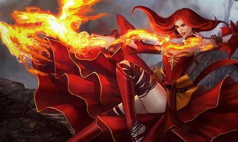 lina girl magic fire red dress  hair dota  art hd