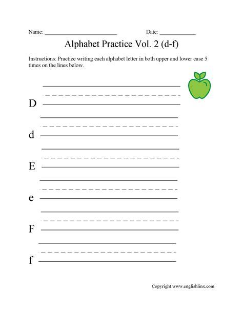 alphabet worksheets writing  alphabet worksheets
