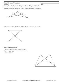 Worksheet Proving Triangles Congruent  Triangle Congruence  Geometry Printable