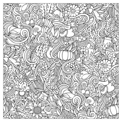 coloring for adults vector doodles thanksgiving autumn