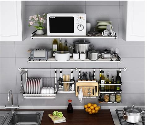 buy  stainless steel kitchen rack wall