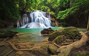Wonderful, Waterfall, In, The, Tropical, Forests, Of, Thailand, Hd