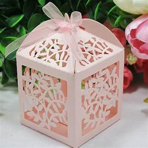 2018 laser cut favor candy gift boxes with ribbon for for Cheap wedding favor boxes