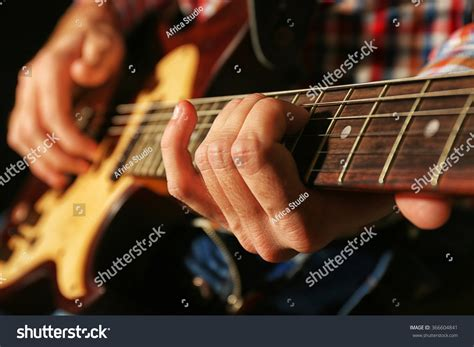 Young Man Playing On Electric Guitar Stock Photo 366604841 Shutterstock