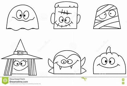 Halloween Faces Outlined Coloring Pumpkin Character Witch