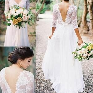2016 lace chiffon bridal dresses boho lace dress v neck 3 With a line boho wedding dress