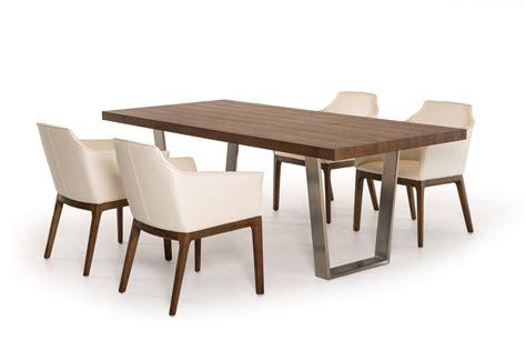 modrest byron mid century walnut stainless steel dining