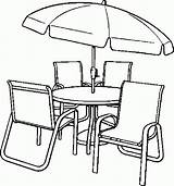 Coloring Table Chairs Chair Dining Umbrella Clip Drawing Clipart Furniture Printable Getdrawings Popular Getcolorings Library Coloringhome sketch template