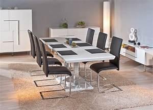 Table de salle manger edmonton blanche galerie et table de for Table de salle a manger design avec rallonge