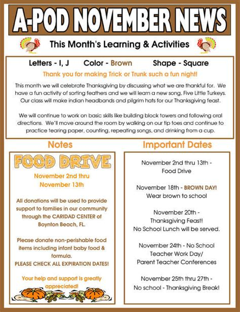 delray day care facility monthly newsletter 846 | A POD NOVEMBER NEWSLETTER