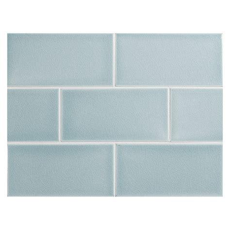 "Vermeere Ceramic Tile  Ice Blue Crackle  3"" X 6"" Subway Tile"