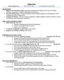junior high school resume exle math and science